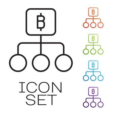 Black line Blockchain technology Bitcoin icon isolated on white background. Abstract geometric block chain network technology business. Set icons colorful. Vector