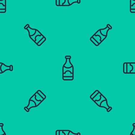 Blue line Champagne bottle icon isolated seamless pattern on green background. Merry Christmas and Happy New Year. Vector