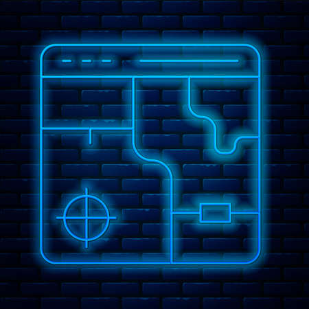 Glowing neon line Infographic of city map navigation icon isolated on brick wall background. Mobile App Interface concept design. Geolocation concept. Vector