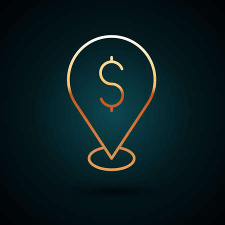 Gold line Cash location pin icon isolated on dark blue background. Pointer and dollar symbol. Money location. Business and investment concept. Vector.
