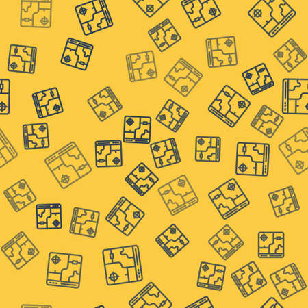 Blue line Infographic of city map navigation icon isolated seamless pattern on yellow background. Mobile App Interface concept design. Geolocation concept. Vector