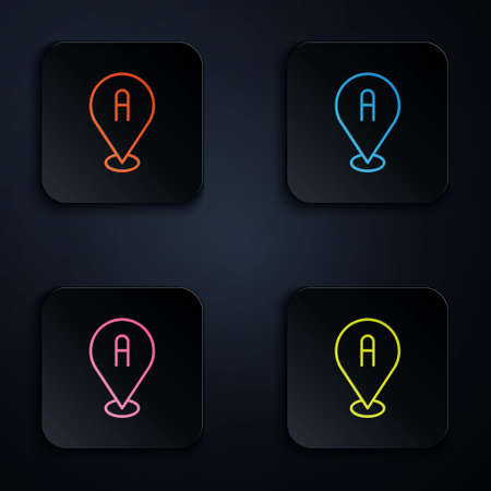 Color neon line Map pin icon isolated on black background. Navigation, pointer, location, map, gps, direction, place, compass, search concept. Set icons in square buttons. Vector