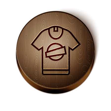 Brown line T-shirt icon isolated on white background. Wooden circle button. Vector