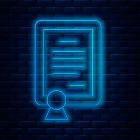 Glowing neon line Certificate template icon isolated on brick wall background. Achievement, award, degree, grant, diploma concepts. Vector