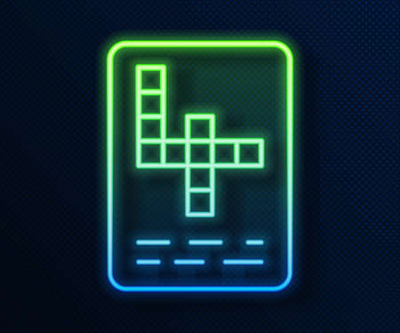 Glowing neon line Crossword icon isolated on blue background. Vector Illustration
