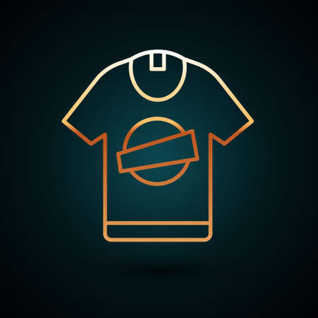 Gold line T-shirt icon isolated on dark blue background. Vector