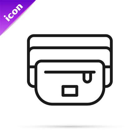 Black line Waist bag icon isolated on white background. Vector Illustration