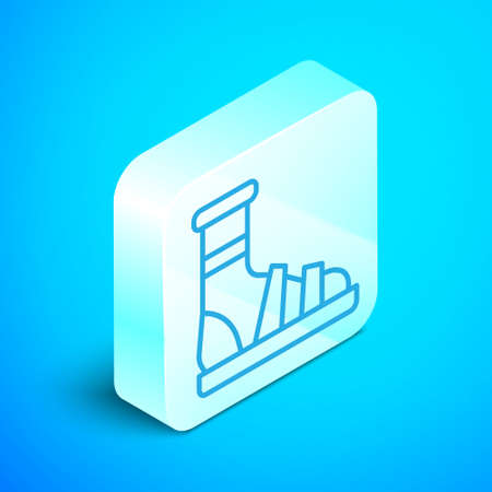 Isometric line Slippers with socks icon isolated on blue background. Beach slippers sign. Flip flops. Silver square button. Vector Illustration