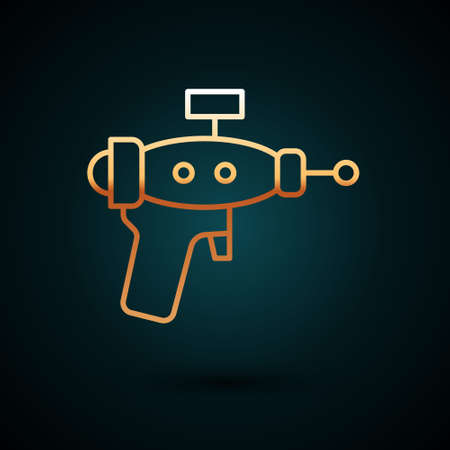 Gold line Ray gun icon isolated on dark blue background. Laser weapon. Space blaster. Vector