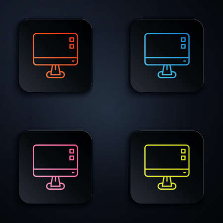 Color neon line Computer monitor screen icon isolated on black background. Electronic device. Front view. Set icons in square buttons. Vector