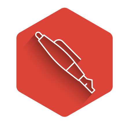 White line Fountain pen nib icon isolated with long shadow. Pen tool sign. Red hexagon button. Vector Illustration