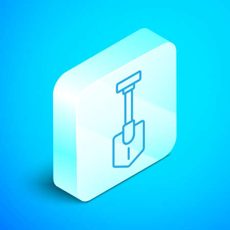 Isometric line Shovel icon isolated on blue background. Gardening tool. Tool for horticulture, agriculture, farming. Silver square button. Vector