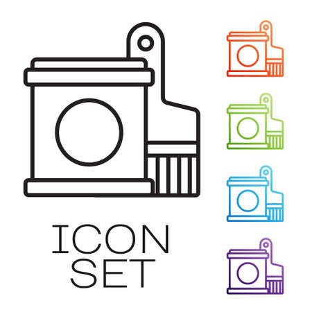 Black line Paint bucket and brush icon isolated on white background. Set icons colorful. Vector Illustration