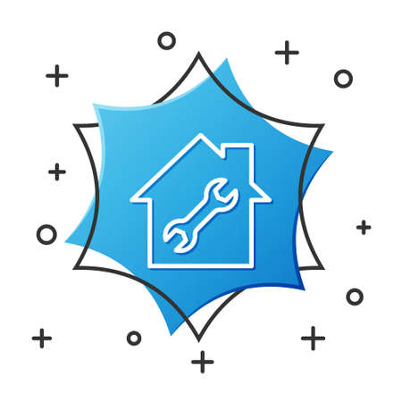 White line House or home with wrench icon isolated on white background. Adjusting, service, setting, maintenance, repair, fixing. Blue hexagon button. Vector Illustration