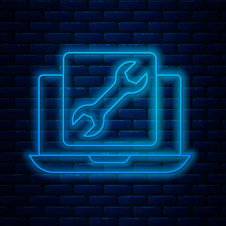 Glowing neon line Laptop with wrench icon isolated on brick wall background. Adjusting, service, setting, maintenance, repair, fixing. Vector Illustration
