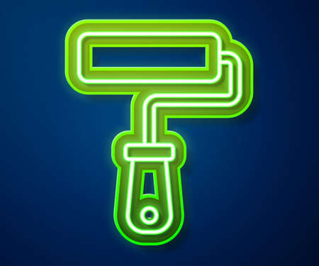 Glowing neon line Paint roller brush icon isolated on blue background. Vector