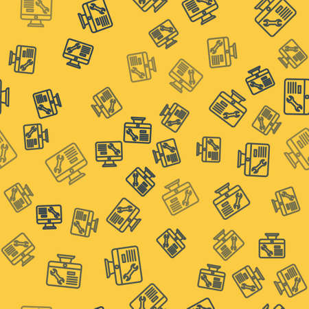 Blue line Computer monitor with wrench icon isolated seamless pattern on yellow background. Adjusting, service, setting, maintenance, repair. Vector
