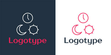 Logotype line Day and night with time icon isolated on white background. Logo design template element. Vector Illustration