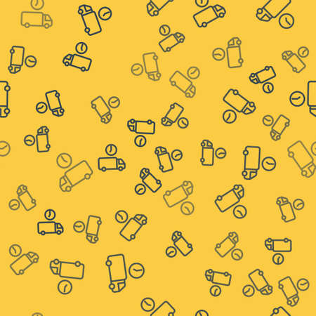 Blue line Logistics delivery truck and time icon isolated seamless pattern on yellow background. Delivery time icon. Vector