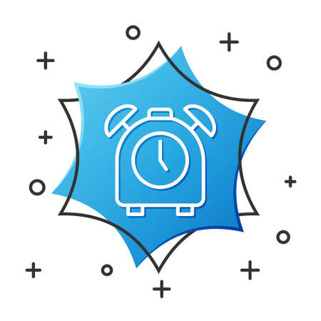 White line Alarm clock icon isolated on white background. Wake up, get up concept. Time sign. Blue hexagon button. Vector