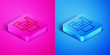 Isometric line Broken window icon isolated on pink and blue background. Damaged window. Beaten windowpane concept. Vandalism. Square button. Vector