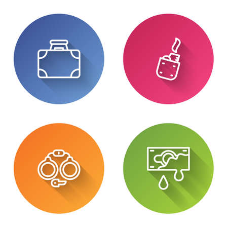 Set line Briefcase and money, Lighter, Handcuffs and Bloody. Color circle button. Vector