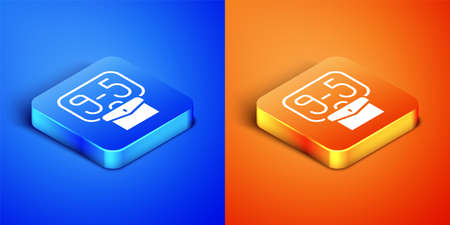 Isometric From 9:00 to 5:00 job icon isolated on blue and orange background. Concept meaning work time schedule daily routine classic traditional employment. Square button. Vector