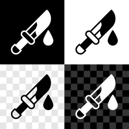 Set Bloody knife icon isolated on black and white, transparent background. Vector