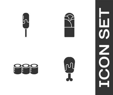 Set Chicken leg, Ice cream, Sushi and Doner kebab icon. Vector