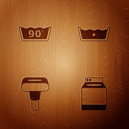 Set Washer, Temperature wash, Garment steamer and on wooden background. Vector