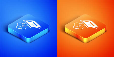 Isometric Electric iron icon isolated on blue and orange background. Steam iron. Square button. Vector