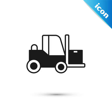 Grey Forklift truck icon isolated on white background. Fork loader and cardboard box. Cargo delivery, shipping, transportation. Vector