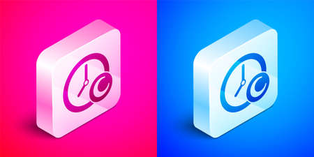 Isometric Time to sleep icon isolated on pink and blue background. Sleepy zzz. Healthy lifestyle. Silver square button. Vector
