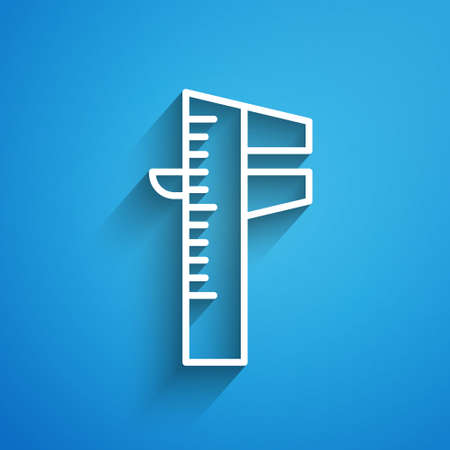 White line Calliper or caliper and scale icon isolated on blue background. Precision measuring tools. Long shadow. Vector