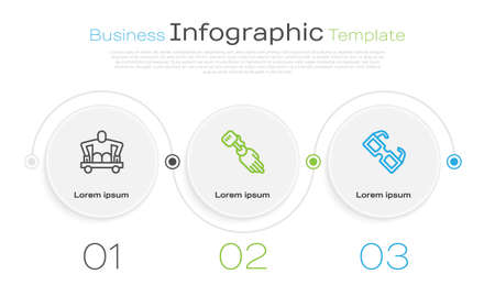 Set line Man without legs sitting wheelchair, Prosthesis hand and Eyeglasses. Business infographic template. Vector Vectores
