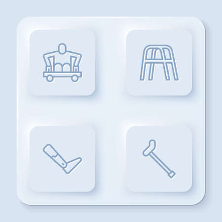 Set line Man without legs sitting wheelchair, Walker, Prosthesis and Walking stick cane. White square button. Vector Vectores