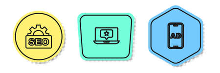 Set line SEO optimization, Laptop with star and Advertising. Colored shapes. Vector