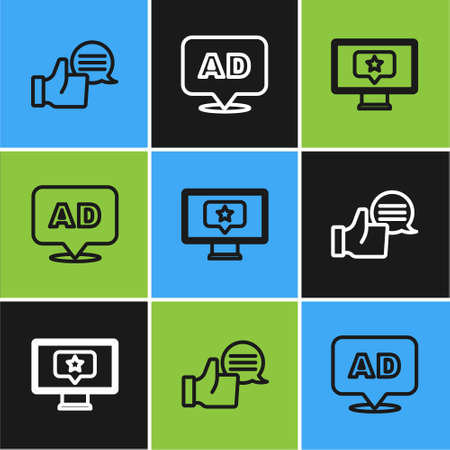 Set line Customer product rating, Monitor with star and Advertising icon. Vector Vectores