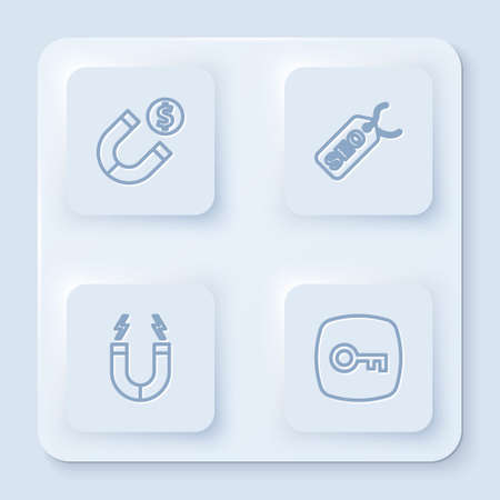 Set line Magnet with money, SEO optimization, and Key. White square button. Vector Vectores