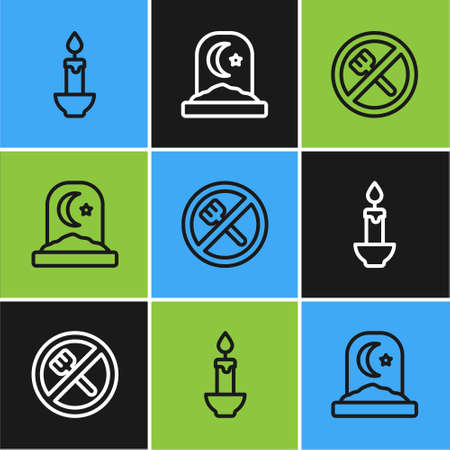 Set line Burning candle, Ramadan fasting and Muslim cemetery icon. Vector