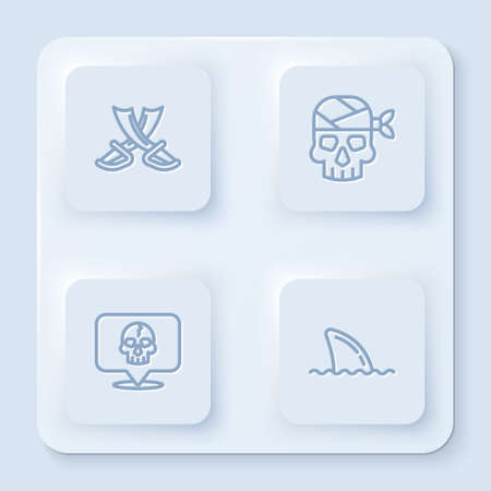 Set line Crossed pirate swords, Pirate captain, Skull and Shark fin ocean wave. White square button. Vector