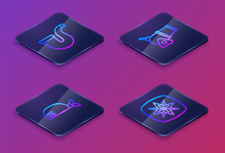 Set Isometric line Smoking pipe, Pirate bandana for head, Cannon and Wind rose. Blue square button. Vector