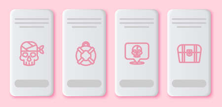 Set line Pirate captain, Lifebuoy, Skull and Antique treasure chest. White rectangle button. Vector Vectores