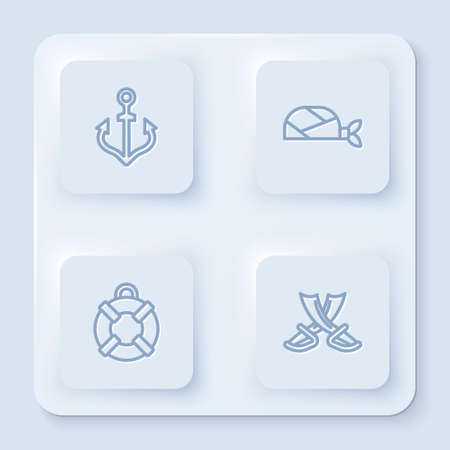Set line Anchor, Pirate bandana for head, Lifebuoy and Crossed pirate swords. White square button. Vector