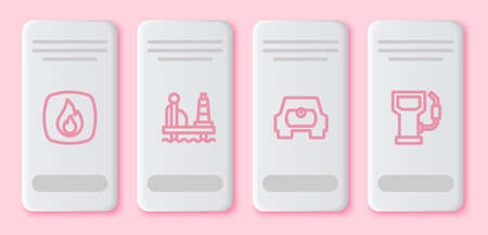 Set line Fire flame, Oil platform in the sea, Gas tank vehicle and Petrol gas station. White rectangle button. Vector