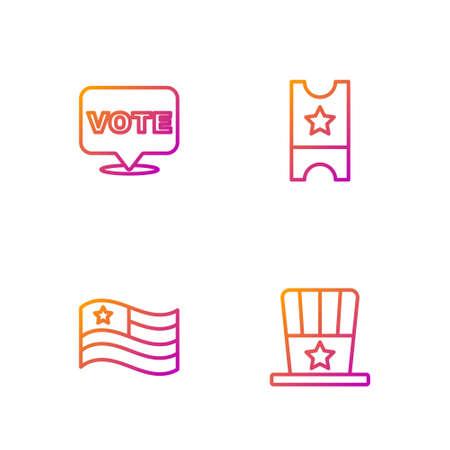 Set line Patriotic American top hat, flag, Vote and Baseball ticket. Gradient color icons. Vector Vectores