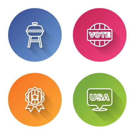 Set line Barbecue grill, Vote, Medal with star and USA Independence day. Color circle button. Vector Vectores