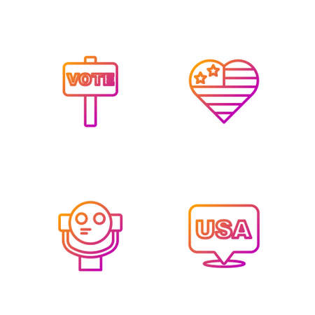 Set line USA Independence day, Tourist binoculars, Vote. Gradient color icons. Vector