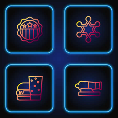 Set line Cannon, Burger, USA Independence day and Hexagram sheriff. Gradient color icons. Vector