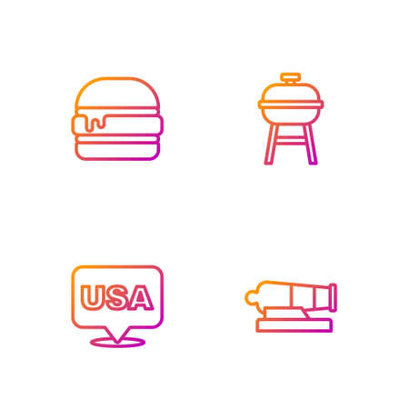 Set line Cannon, USA Independence day, Burger and Barbecue grill. Gradient color icons. Vector